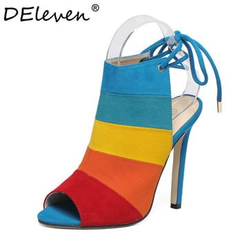 2016 New Fashion Lace-up Women Peep Toe High Heels Rainbow Shoes Woman Sexy Sandals Slingbacks Mix-color Red Brown Zapatos Mujer