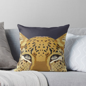 'Amur Leopard - Vector Illustration' Throw Pillow by danellemichaud