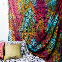 Psychedelic Wildflower Mandala Tapestry