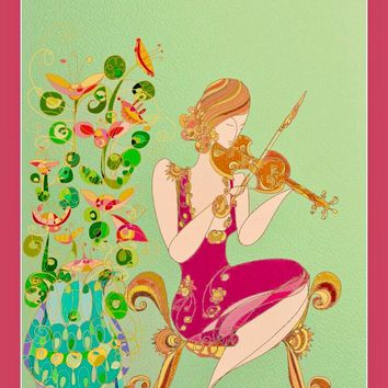 Music Wall Art - Violin  - Art Nouveau Style  - Women  - Whimsical  - Women Decor - Hollywood Regency - Office Decor