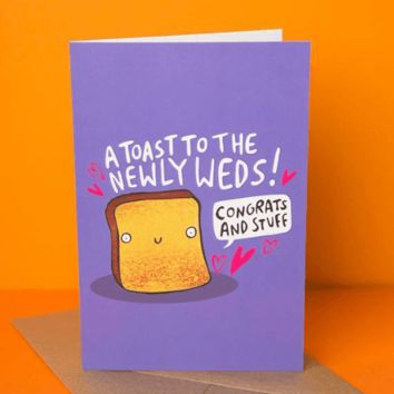A Toast to the Newly Weds Funny Happy Wedding Day Card FREE SHIPPING