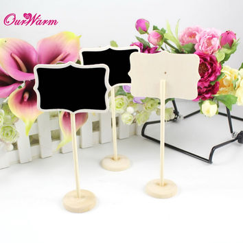 6Pcs/lot Vintage Mini  Wood Chalkboard Blackboard Wooden Place Card Holder Table Number for Wedding Event Party Christmas Decor