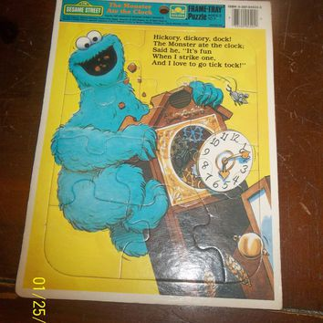 vintage 1989 golden sesame street the cookie monster ate the clock frame puzzle