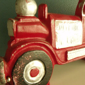 Door Stop Cast Iron Firetruck Vintage Fire Engine Doorstop