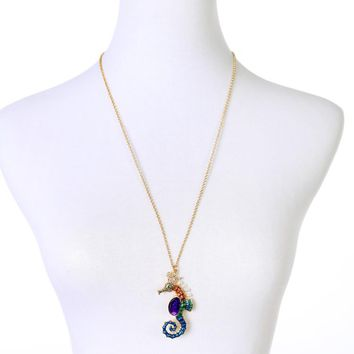 Women Colorful Seahorse Charm  Necklace