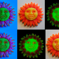 Neon Sun Face Ornament or Sun Pendant Yellow Red and Orange EyeGloArts Glow in the Dark and Blacklight Art  #sun23 and #sun24