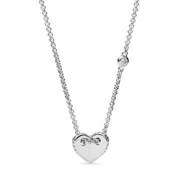 Sterling Silver Folded Heart Necklace
