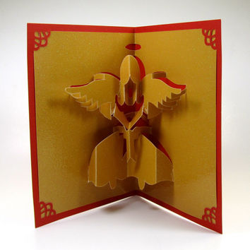 CHRISTMAS ANGEL 3D Pop Up Greeting Card Home Décor Handmade Handcut Origamic Architecture in Metallic Shimmery Gold and Red One of a Kind