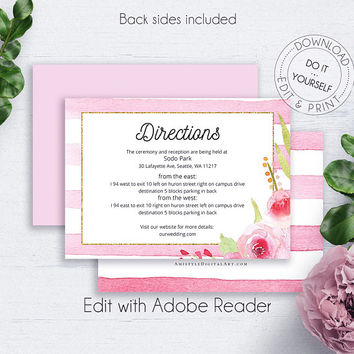 Floral Wedding Reception Directions, Invitation, Blush, Customize, Watercolor Flowers, Details Card Wedding, Insert Card,Printable Details