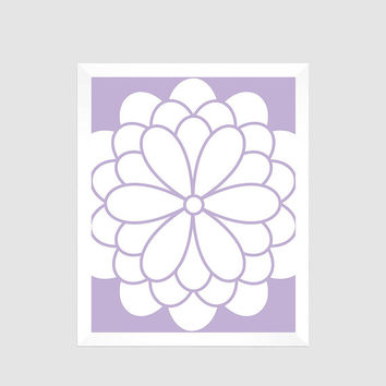 White Flower Blossom on Lavender Print CUSTOM COLORS nursery decor art baby room decor print bathroom living room bedroom decor art  8x10
