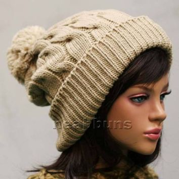 chic pom pom BEANIE Ski snowboard Men Women Knit top best Hats Crochet Cap LSK