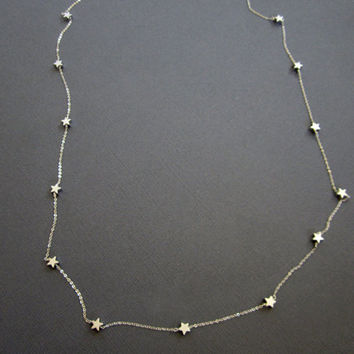 Silver star necklace, Long necklace, Star Necklace, layerig necklace, Gift for teacher, Star Jewelry, Hand wired stars