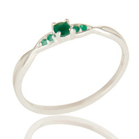 Natural Emerald Gemstone Sterling Silver Split Shank Stacking Ring