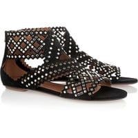 Alaïa Studded cutout suede sandals – 60% at THE OUTNET.COM