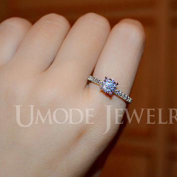 UMODE White Gold Color Pave Band Engagement Ring for Women with 0.6cm 0.75ct Cubic Zirconia Brand New Wedding Ring UR0031