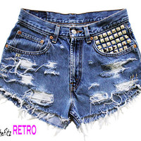 Made To Order High Waisted Levi's Studded by SheFitzRetro on Etsy