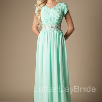 Mint Chiffon Maxi Long Formal Floor Length Modest Bridesmaid Dresses With Cap Sleeves Beaded Ruched Bling Bridesmaid Gowns 2016