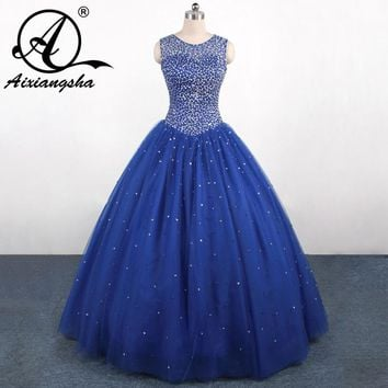 2018 Luxury Blue Sweet 15 dress Quinceanera Dresses with Crystal beads Vestidos de 15 anos Ball Gown  dressQA109