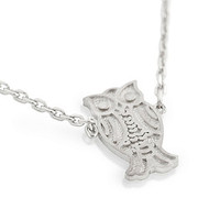 "925 Sterling Silver Rhodium Plated Owl Necklace 16"""" + 2"""": Size:"