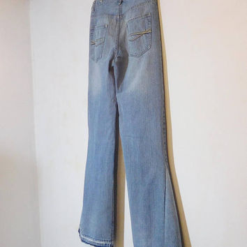 Super Flair Mens Bell Bottom Jeans, Upcycled Clothing, Hippie Clothes, 34 Waist, High Waisted, Tall, 100% Cotton, Boho Jeans