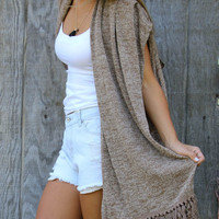 All Wrapped Up Mocha Winter Knit Fringe Kimono