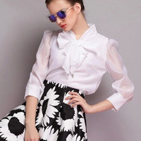Bow Tie Collar Half Sleeve Chiffon Blouse