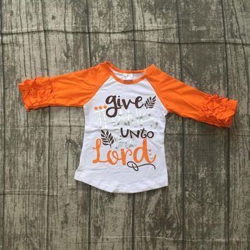 fall/winter baby girls thanksgiving orange cotton icing sleeve top t-shirts raglans give thanks unto the lord children clothes