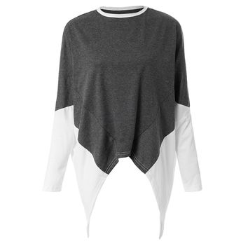 Round Collar Loose-Fitting Mixed Colors Women's Dovetail T-shirt