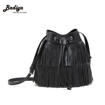 New 2016 Black Women Drawstring Bucket Bag Women Vintage Handbag Faux Fringe Tassel Shoulder Crossbody bags lady Messenger Bag