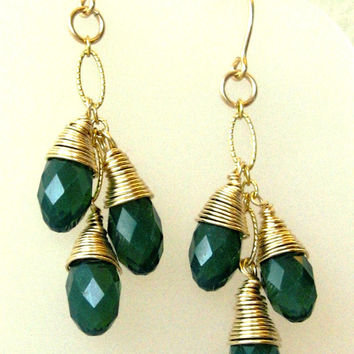 Earrings of Three Palace Green Opal Swarovski Crystal Briolettes Capped With Hand Wrapped Gold Filled Wire