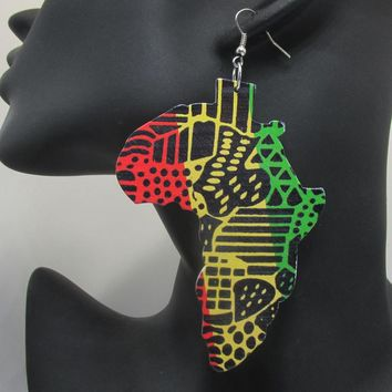 Newest Printing African Map Wooden Earrings