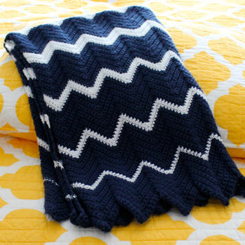 Navy with White Chevrons Crib/Stroller Blanket, Crocheted