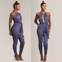 2015 Rompers Women Jumpsuit Summer Style solid purple Casual Overalls stylish backless Jumpsuit long Feminino Macacao