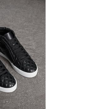 Check-quilted Leather High-top Sneakers in Black - Women | Burberry United States