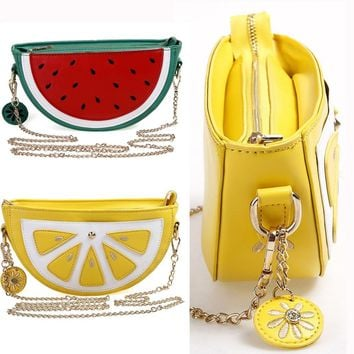 Summer Women Messenger Bags Flap Bag Lady Cute Fruit Lemon Watermelon Shape Crossbody Shoulder Bags Small Female Handbags