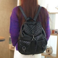Vintage Soft Large Black Leather Womens Backpack Travel Bag Daypack