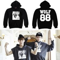 KPOP EXO SUPPORT KISS AND HUG SWEATSHIRT HOODIE CAP (L)