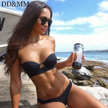 DD&MM Beadeau Bikini Set Push Up Swimwear 2018 Black Solid Swimsuit Bathing Suit Brazilian Biquini Hollow Out Maillot De Bain