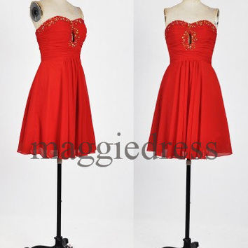 Custom Red Beaded Short Prom Dresses Bridesmaid Dresses 2014 Party Dresses Evening Dresses Wedding Party Dress Homecoming Dresses