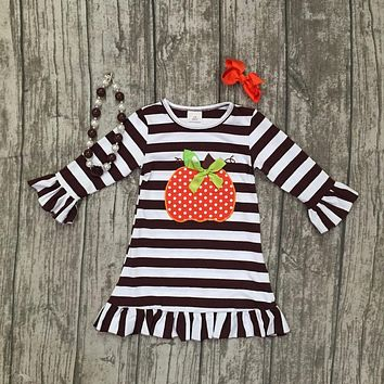 thanksgiving baby girls kids Fall striped brown outfits dress pumpkin boutique cotton sleeve children clothes match accessory