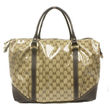 Gucci Brown Leather Crystal Boston Satchel Bag