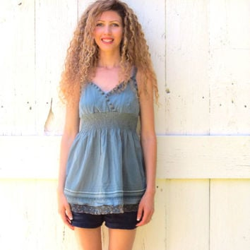Empire Waist Tank Top Upcycled babydoll Tunic S-M womens blue bohemian upcycled clothing one of a kind recycled eco friendly by wearlovenow