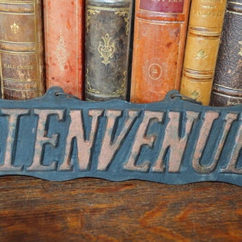Antique Large French Cast Iron Bienvenue Welcome Sign Plaque Black & Copper Shabby Chic Two Sided Hanging
