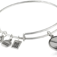 "Alex and Ani ""Team USA Winter"" Ice Hockey Expandable Wire Rafaelian Silver Finish Bangle Bracelet"