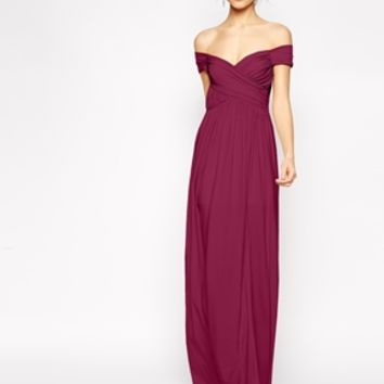 ASOS Bardot Ruched Maxi Dress