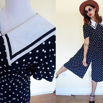 Vintage navy blue gaucho polka dot sailor collar romper jumpsuite jumper palazzo pants puff sleeves lolita madeline