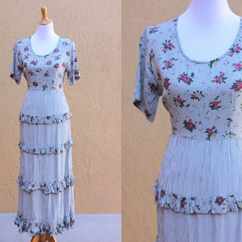 Vtg 90's floral and gingham checked dress Ruffles tie scoop neck short sleeves maxi skirt