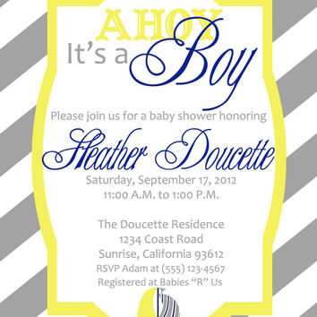 Nautical Sailboat and Stripes Ahoy It's A Boy Printable Baby Shower Invitation