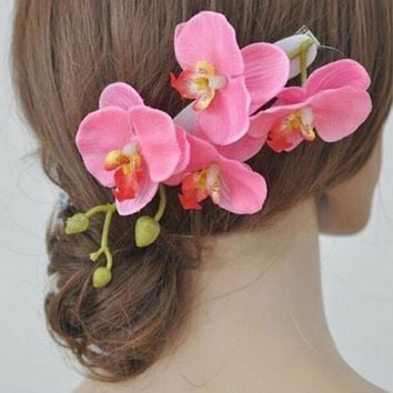 1PC Summer Bohemia Bridal Hairpins Orchid Flower Hair Clips Girls Barrette Wedding Beach Decoration Hair Accessories for Women