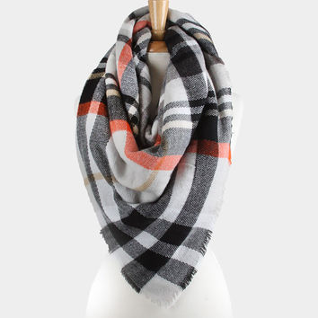 Plaid Check Knit Fringed Trim Blanket Scarf - Grey & Black